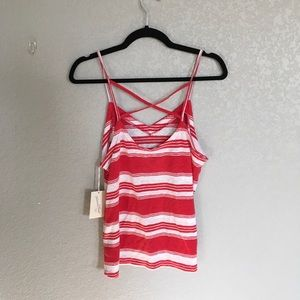 Universal Threads Red and White Tank Top Medium
